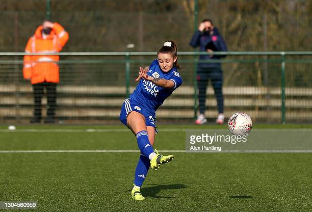 Hannah Cain of Leicester City scores their sides first goal during the Barclays FA Women's Championship match between Leicester City Women and...