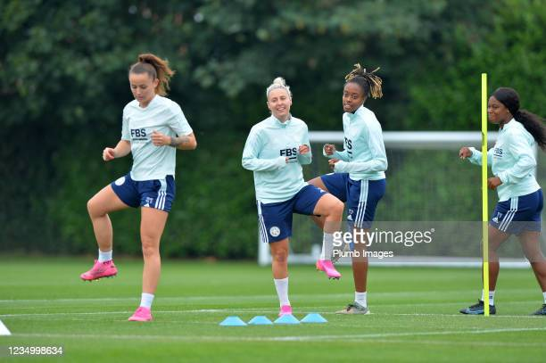 Hannah Cain of Leicester City Women, Sophie Barker of Leicester City Women Paige Bailey Gayle of Leicester City Women and Lachante Paul of Leicester...