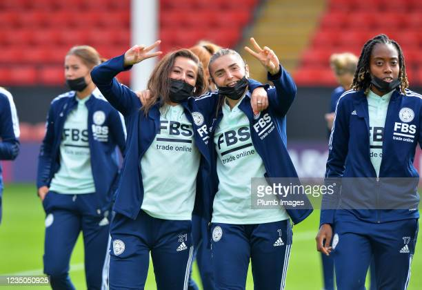 Hannah Cain of Leicester City Women with Demi Lambourne of Leicester City Women and Paige Bailey Gayle of Leicester City Women before Aston Villa...