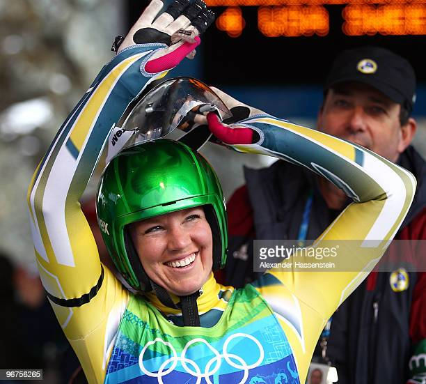 Hannah CampbellPegg of Australia reacts after competing in the Luge Women's Singles on day 5 of the 2010 Winter Olympics at Whistler Sliding Centre...