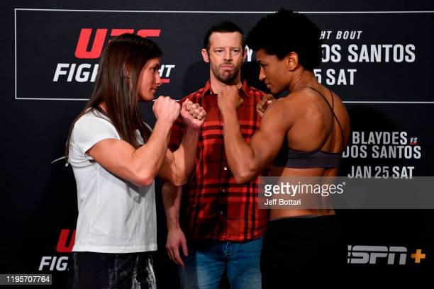 Hannah Cifers and Angela Hill face off during the UFC Fight Night weighins at the Embassy Suites Raleigh Crabtree on January 24 2020 in Raleigh North...