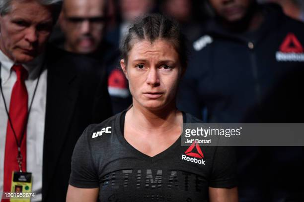 Hannah Cifers prepares to enter the Octagon prior to her women's strawweight bout against Angela Hill during the UFC Fight Night event at PNC Arena...
