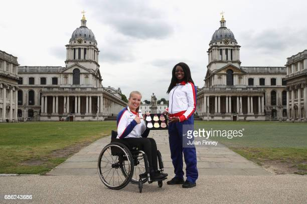 Hannah Cockcroft and Asha Phillip pose for pictures with the medals for the World Para Athletics Championships and IAAF World Athletics Championships...