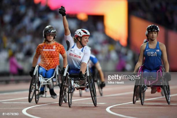 Hannah Cockcroft of Great Britain celebrates after setting a new world record in the Women's 100m T34 final during the IPC World ParaAthletics...