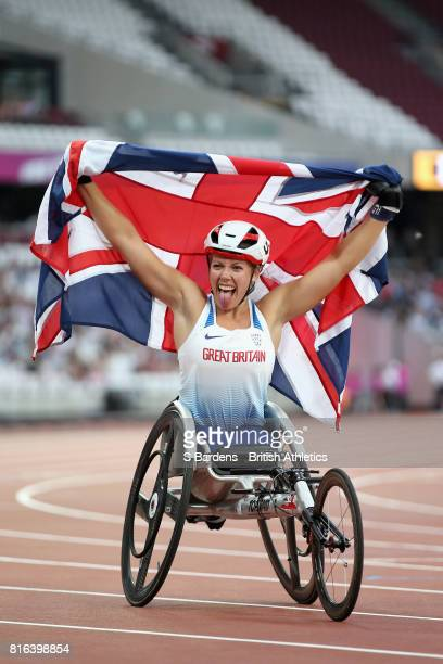 Hannah Cockcroft of Great Britain celebrates winning gold in the Women's 800m T34 Final during Day Four of the IPC World ParaAthletics Championships...