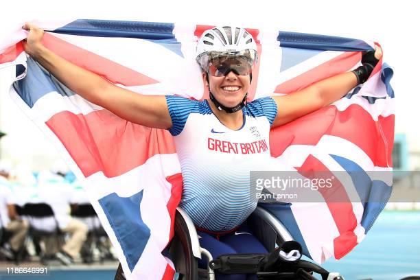 Hannah Cockcroft of Great Britain celebrates winning the Women's 100m T34 final on Day Four of the IPC World Para Athletics Championships 2019 Dubai...