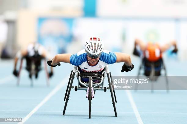 Hannah Cockcroft of Great Britain crosses the line to win the Women's 100m T34 final on Day Four of the IPC World Para Athletics Championships 2019...