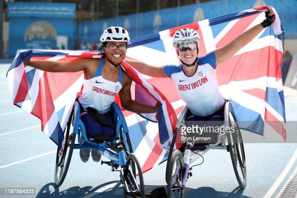 Hannah Cockroft and Kare Adenegan of Great Britain celebrate finishing first and second in the Women's 800m T34 during Day Eight of the IPC World...