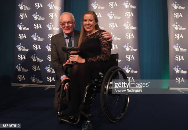 Hannah Cockroft MBE receives the Sportswoman of the Year award from Patrick Collins during The SJA British Sports Awards 2017 at the Tower of London...