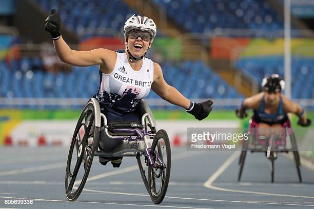 Hannah Cockroft of Great Britain celebrate winning the gold medal in the Women's 400m T34 Final on day 7 of the Rio 2016 Paralympic Games at the...