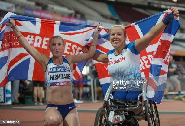 Hannah Cockroft of Great Britain celebrates after winning gold in the Women's 400m T34 Final alongside Georgina Hermitage who won gold in the Women's...