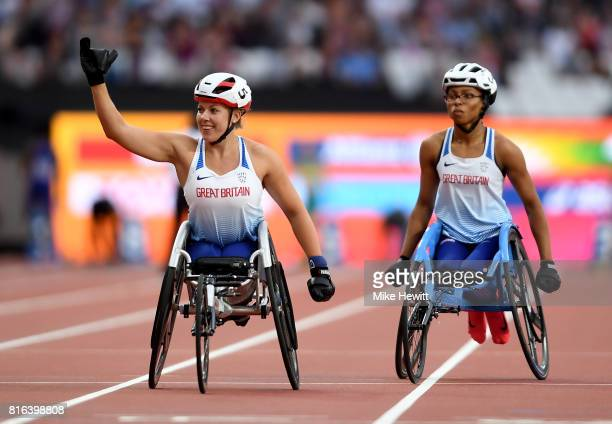 Hannah Cockroft of Great Britain celebrates victory in the Women's 800m T34 Final with with Kare Adenegan of Great Britain during day four of the IPC...