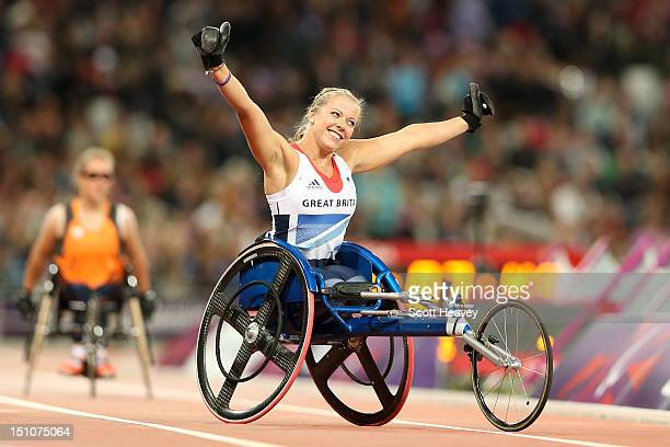 Hannah Cockroft of Great Britain celebrates winning gold in the Women's 100m T34 Final on day 2 of the London 2012 Paralympic Games at Olympic...