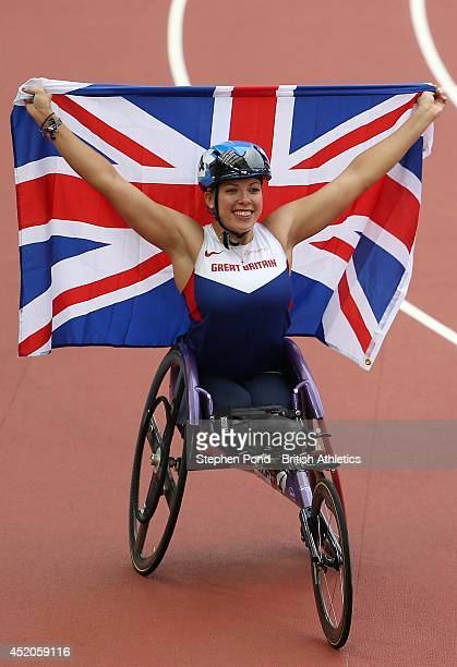 Hannah Cockroft of Great Britain celebrates winning the Women's T34 100m event during day two of the Sainsbury's Glasgow Grand Prix Diamond League...