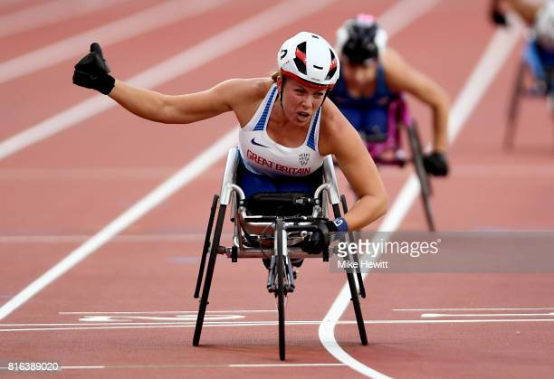 Hannah Cockroft of Great Britain crosses the line to win the Women's 800m T34 Final during day four of the IPC World ParaAthletics Championships 2017...