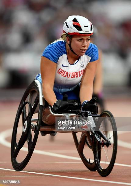 Hannah Cockroft of Great Britain crosses the line to win the Women's 400m T34 during day seven of the IPC World ParaAthletics Championships 2017 at...