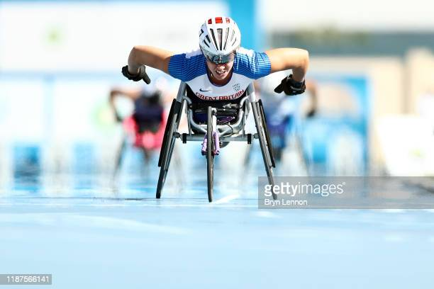 Hannah Cockroft of Great Britain in action in the Women's 800m T34 during Day Eight of the IPC World Para Athletics Championships 2019 Dubai on...