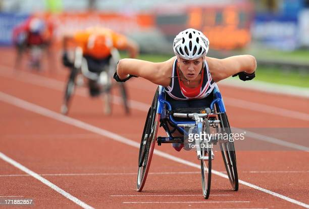 Hannah Cockroft of Great Britain on her way to winning Women's 200m race during the IPC Grand Prix Final at Alexander Stadium on June 29 2013 in...
