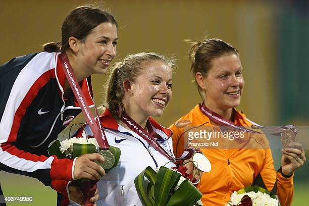 Hannah Cockroft of Great Britain poses with the gold Alexa Halko of USA the silver and Amy Siemons of Holland the bronze at the medal ceremony for...
