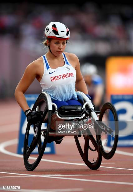 Hannah Cockroft of Great Britain prepares to compete in the Women's 800m T34 Final during day four of the IPC World ParaAthletics Championships 2017...