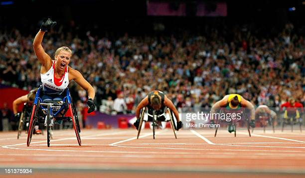 Hannah Cockroft of Great Britain wins gold in the Women's 200m - T34 Final on day 8 of the London 2012 Paralympic Games at Olympic Stadium on...