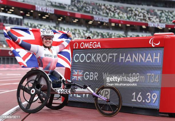 Hannah Cockroft of Team Great Britain celebrates after breaking the world record and winning gold in Women's 100m - T34 Final on day 5 of the Tokyo...