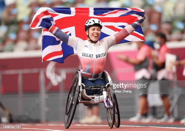Hannah Cockroft of Team Great Britain celebrates winning the gold medal and breaking the paralympic record after competing in the Women's 800m - T34...