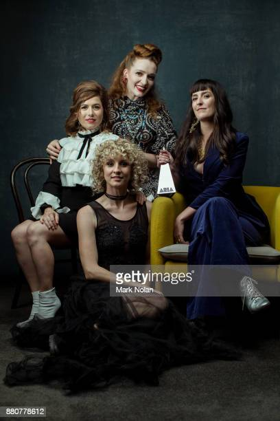 Hannah Crofts Georgia Mooney Elana Stone Katie Wighton from All Our Exes Live In Texas pose for a portrait with an ARIA for best Blues and Roots...
