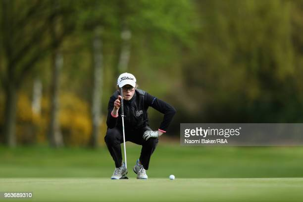 Hannah Darling looks on on the 17th green during the final round of the Girls' U16 Open Championship at Fulford Golf Club on April 29 2018 in York...
