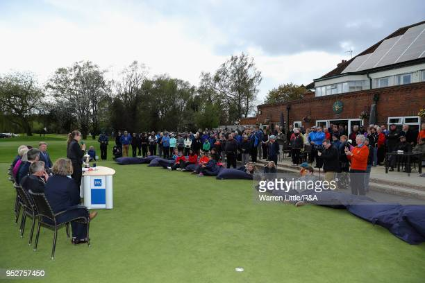 Hannah Darling makes a speech after winning the Girls' U16 Open Championship at Fulford Golf Club on April 29 2018 in York England
