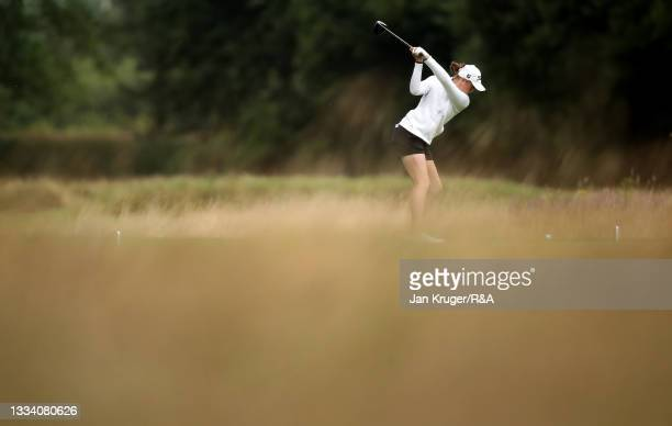 Hannah Darling of Broomieknowe in action during the Final of the R&A Girls Amateur Championship at Fulford Golf Club on August 14, 2021 in York,...