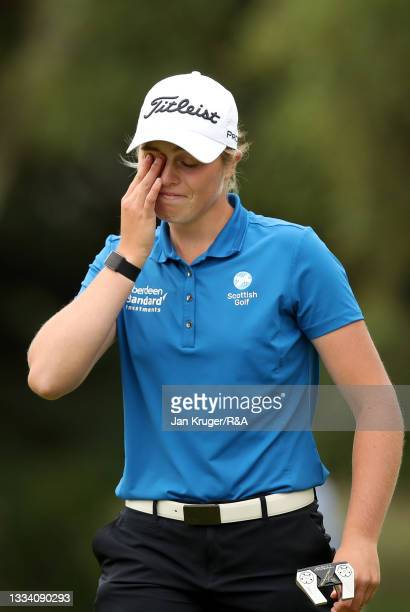 Hannah Darling of Broomieknowe reacts on the 18th hole after winning the Final of the R&A Girls Amateur Championship at Fulford Golf Club on August...