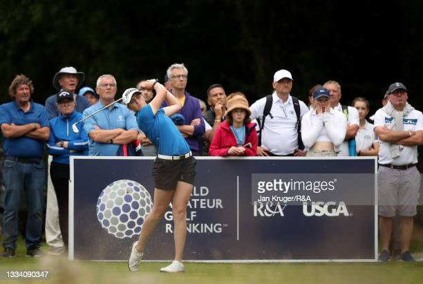 Hannah Darling of Broomieknowe tees off on the 18th during the Final of the R&A Girls Amateur Championship at Fulford Golf Club on August 14, 2021 in...
