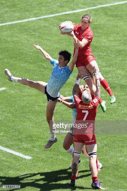 Hannah Darling of Canada wins the lineout over Baizat Khamidova of Russia during the HSBC World Rugby Women's Sevens Series 2016/17 Kitakyushu...
