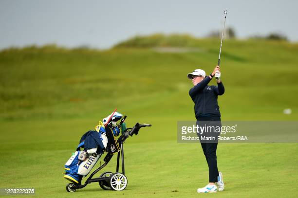 Hannah Darling of Scotland hits an approach shot during Round 1 of Matchplay on Day Three of The Women's Amateur Championship at The West Lancashire...