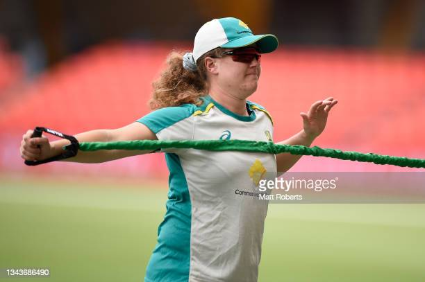 Hannah Darlington of Australia during a training session after a media opportunity ahead of the Women's International Test match between Australia...