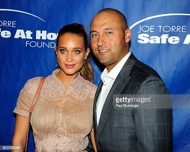 Hannah Davis and Derek Jeter attend the Joe Torre Safe At Home Foundation's 14th Annual Celebrity Gala at Cipriani 25 Broadway on November 9 2016 in...