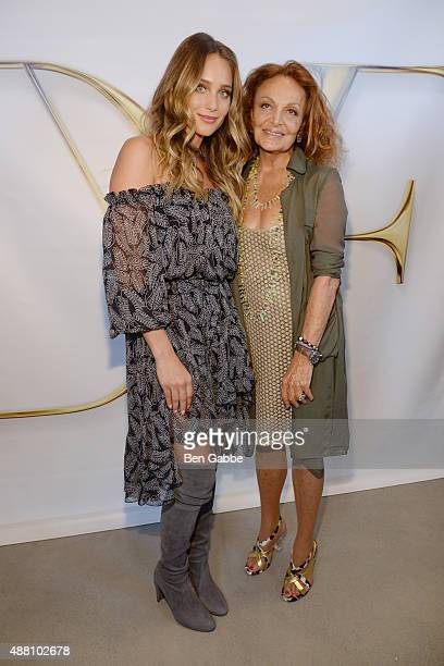 Hannah Davis and designer Diane Von Furstenberg pose backstage at the Diane Von Furstenberg Spring 2016 fashion show during New York Fashion Week at...