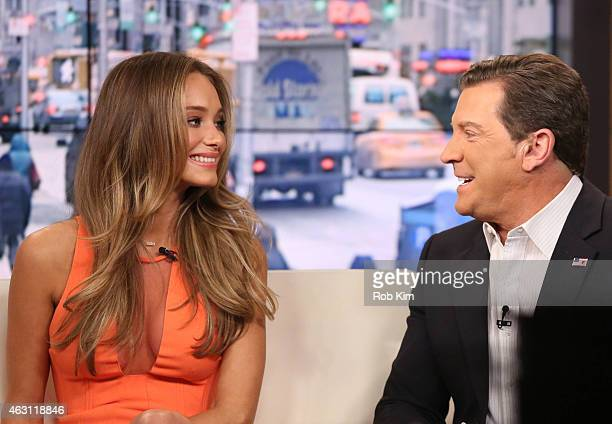 Hannah Davis and Eric Bolling appear on 'FOX and Friends' at FOX Studios on February 10 2015 in New York City