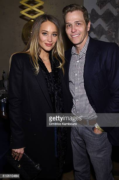 Hannah Davis and Patrick Whitesell attend IMG Models Celebrates The Sports Illustrated Swimsuit issue at Vandal on February 15 2016 in New York City