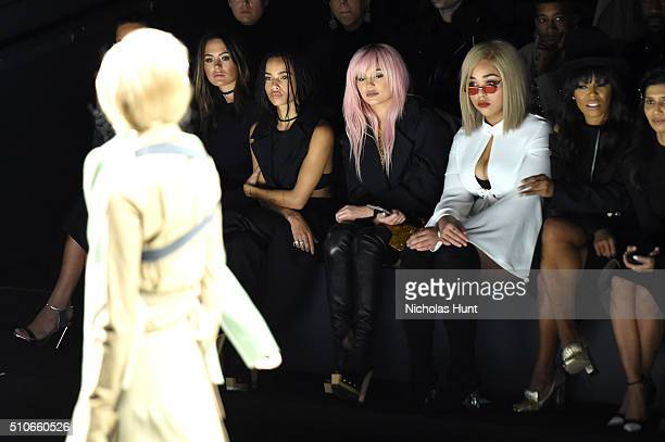 Hannah Davis Jesinta Campbell Zoe Kravitz Kylie Jenner Jordyn Woods and June Ambrose attend the Vera Wang Collection Fall 2016 fashion show during...