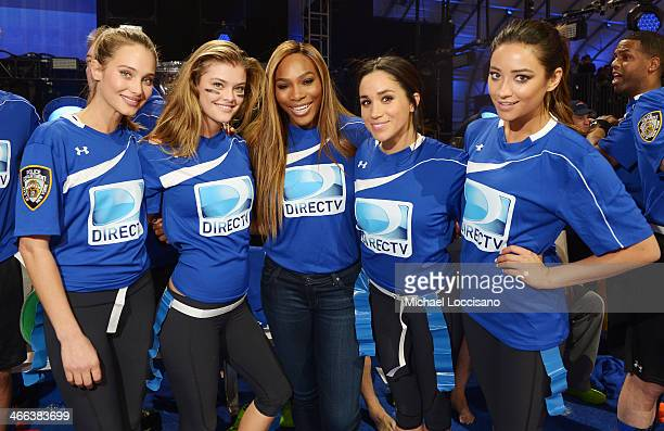 Hannah Davis Nina Agdal Serena Williams Meghan Markle and Shay Mitchell participate in the DirecTV Beach Bowl at Pier 40 on February 1 2014 in New...