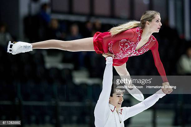 Hannah Dawson and Christian Reekie of Canada compete during the Junior Pairs Short Program on day one of the ISU Junior Grand Prix of Figure Skating...
