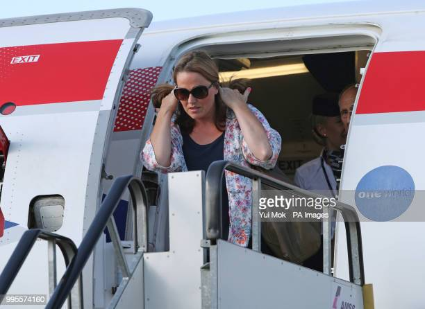 Hannah Deacon the mother of sixyearold Alfie Dingley steps off a British Airways plane at London City Airport as she arrives in the UK with a supply...