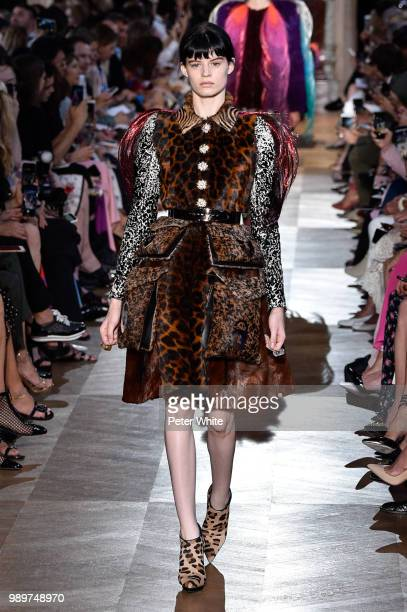 Hannah Elyse walks the runway during the Schiaparelli Haute Couture Fall Winter 2018/2019 show as part of Paris Fashion Week on July 2, 2018 in...