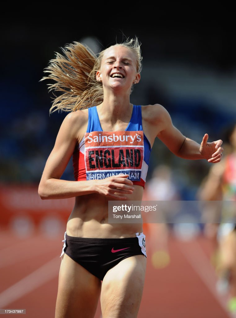 Hannah England of Oxford City celebrates winning the fnal of the Womens 1500m during the Sainsbury's British Championships Birmingham - British Athletics World Trials and UK & England Championships: Day Three at Alexander Stadium on July 14, 2013 in Birmingham, England.