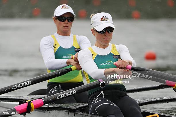Hannah Every Hall and Georgia Nesbitt of Australia compete in the Lightweight Women's Double Sculls repechage during Day 2 of the 2016 FISA European...