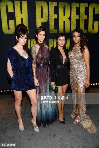 Hannah Fairlight Ruby Rose Andy Allo and Venzella Joy attend the premiere of Universal Pictures' 'Pitch Perfect 3' at Dolby Theatre on December 12...