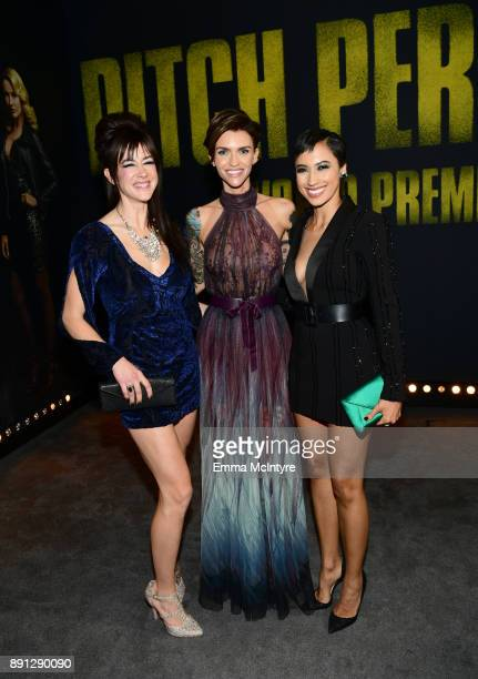 Hannah Fairlight Ruby Rose Andy Allo attend the premiere of Universal Pictures' 'Pitch Perfect 3' at Dolby Theatre on December 12 2017 in Hollywood...