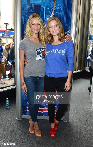 Hannah Ferguson and Jessica Perez attend the Final Shave Event To Launch The 2014 Rangers BeardAThon at Rangerstown Hockey House on April 17 2014 in...